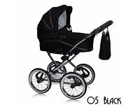 black pram goes into pushchair still in wrapping,bag,raincover used once ..