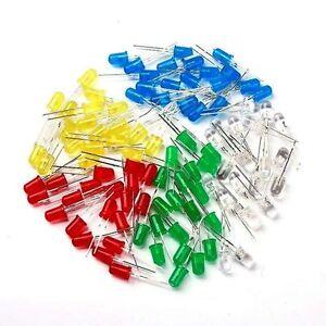 5mm LED Sortiment 100 Stück je 20 rot grün gelb blau weiß Leuchtdioden