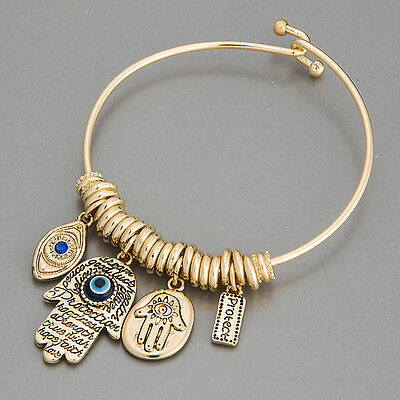 Gold Hamsa Hand Blue Eye Protect Statement Charm Indie Bohemian Style Bracelet Hamsa Hand Protection