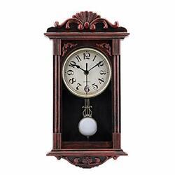 Pendulum Wall Clock Retro Quartz Decorative Battery Operated Wall Clock for Livi