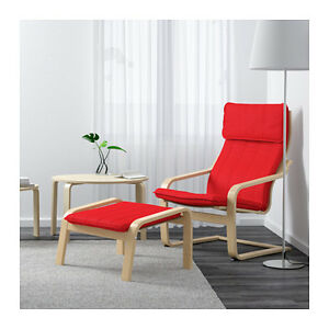 Red IKEA poang chair with a footstool