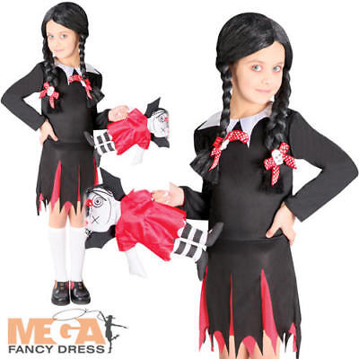 Dead School Girl Girls Halloween Fancy Dress Creepy Kids Childs Costume Outfit