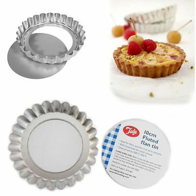 6 x Loose Base Fluted Flan Tins 10cm Quiche Tart Pie Quick Release Bake Tin TALA