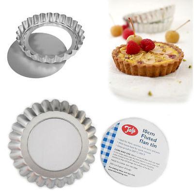 6 x 10cm Loose Base Fluted Flan Tins Quiche Tart Pie Quick Release Bake Tin TALA