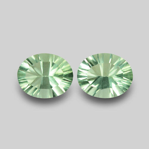 GORGEOUS OVAL CONCAVE CUT NATURAL GREEN FLUORITE PAIR WATCH VIDEO