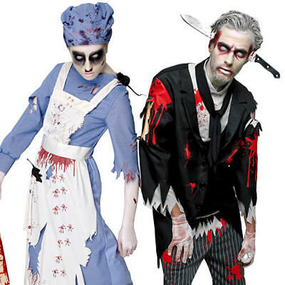 Bloody Zombie Butler or Maid Adult Fancy Dress Halloween Horror Undead Costumes
