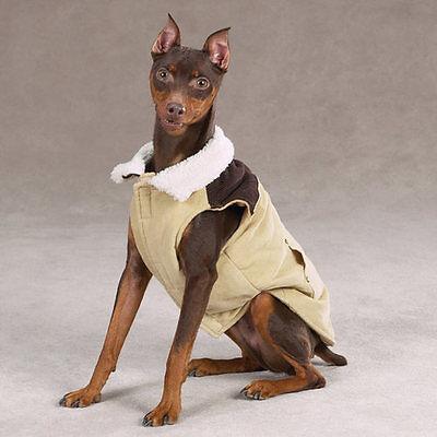 Berber Lined Fleece Jacket (Zack & Zoey Corduroy Range Dog Coat Fleece Lining Jacket Berber Trim Collar )