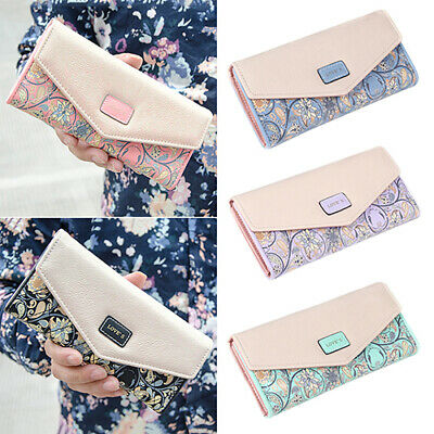 Women Lady Faux Leather Wallet Trifold Card Holder Purse Long Handbag Welcome Clothing, Shoes & Accessories