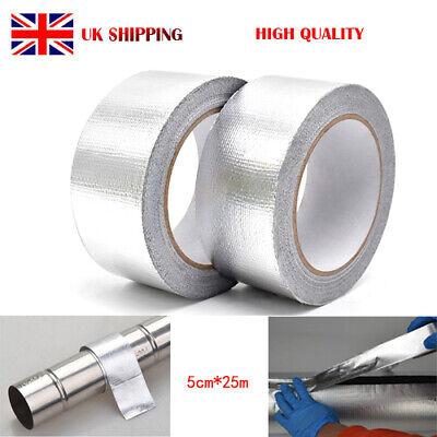 UK 25M*5cm Exhaust Heat Wrap Manifold Downpipe High Temp Bandage Tape Silver