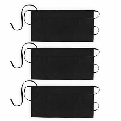 3 Pack Waist Aprons With 3 Pockets Waitress Server Waiter For Women Men Black