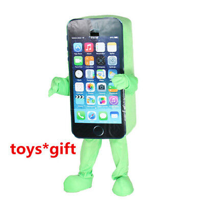 Green Color Mobile Advertising Cell Phone Mascot Costume Dress Adults Size - Cell Phone Costume