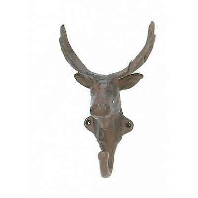 Cabin Multi Purpose Hook (Towel Bath DEER HEAD Multi-purpose Rustic Cabin Lodge WALL HOOK Cubbies Iron )