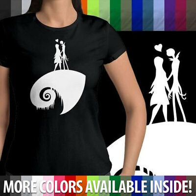 Disney Nightmare Before Christmas Jack Sally Halloween Womens Junior Tee T-Shirt