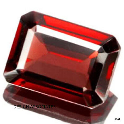 8X6 MM EMERALD CUT NATURAL RED GARNET VVS