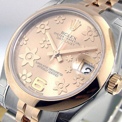 UNWORN ROLEX DATEJUST 178241 MID SIZE STEEL ROSE GOLD JUBILEE PINK FLORAL DIAL
