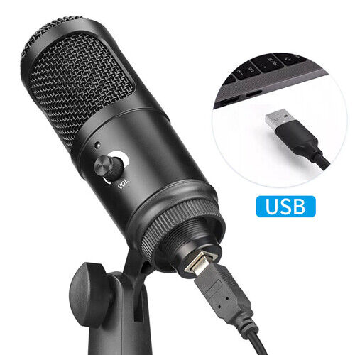 USB Microphone Condenser Recording Mic with Stand for Mac Laptop PC Karaoke