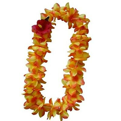 SIX Hawaiian Silk Flower Lei Luau Party Hula Wedding Graduation QTY 6 LEIS