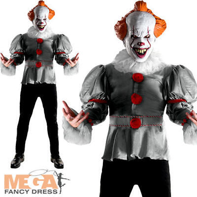 IT Pennywise Mens Fancy Dress Halloween Horror Clown Stephen King Adults Costume
