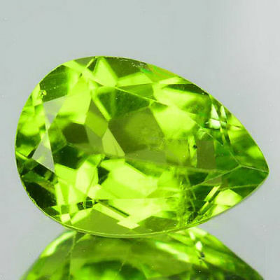 8x6mm PEAR-FACET STRONG-GREEN NATURAL AFGHAN PERIDOT GEMSTONE