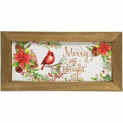 Merry & Bright Christmas Cardinal Bird Wood Framed Country Farm Sign Plaque ()