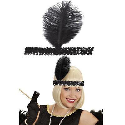 Charleston-Band Flapper schwarz mit Feder  - Stirnband - Haarband  0315
