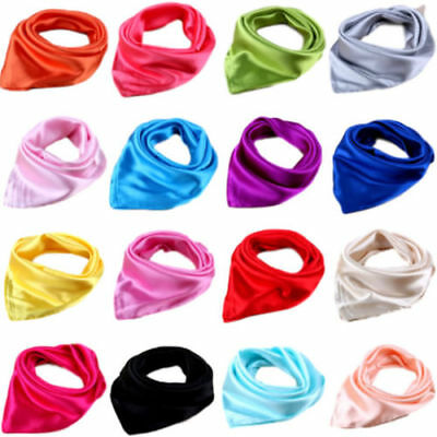 (Stylish Women Soft Silk Scarf Satin Square Scarves Neckerchief Neck Headband New)