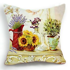 Retro-Vintage-Yellow-Sunflower-Lavander-Pot-Home-Pillow ...