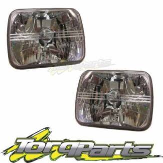 """SEMI SEALED CRYSTAL BEAM HEADLIGHTS LAMPS 7""""X5"""" SUIT FORD F100"""