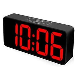 DreamSky 8.9 Inches Large Digital Alarm Clock with USB Black Case + Red Digit