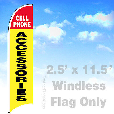 Cell Phone Accessories - Windless Swooper Flag 2.5x11.5 Feather Banner Sign - Yb