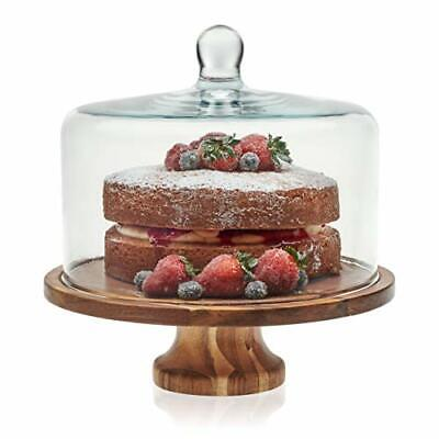 Libbey Acaciawood Footed Round Wood Server Cake Stand with Glass Dome ()