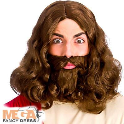 Jesus Wig & Beard Mens Fancy Dress Saints & Sinners Adults Costume Accessory - Saint Sinner Kostüm