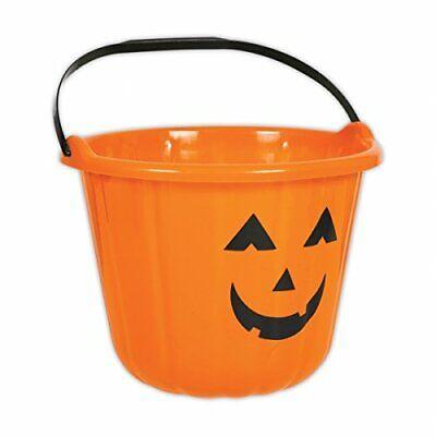 Orange Pumpkin Halloween Plastic Trick or Treat Bucket