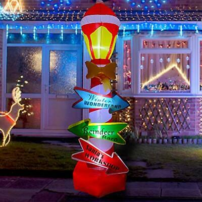 8ft Inflatable Christmas Sign LED Blow Up Lighted Decor Indoor Outdoor Holiday