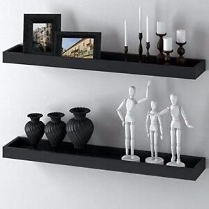 FLOATING WALL WOOD SHELF  BLACK COLOR $12 FOR HOME DECOR