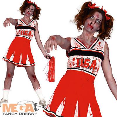 Zombie Cheerleader Ladies Fancy Dress Dead High School Adults Halloween Costume  ()