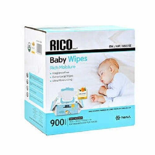 RICO Baby Wipes Fragrance Free Dye and Paraben-Free Flip Top Lid  900-count  CWS