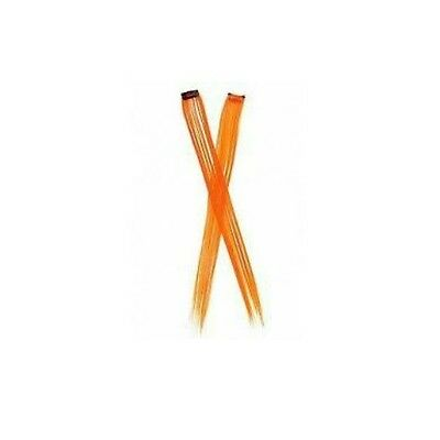 Orange Neon Hair Extension Clip In On Costume Halloween Streak Accessory Long - Neon Hair Extensions