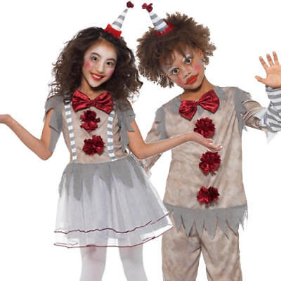Vintage Clown Kids Fancy Dress Fun Halloween Circus Boys Girls Childrens Costume