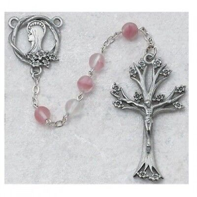 (IVL 7MM Frosted Pink Bead Pewter Virgin Mary Rosary w Tree of Life Crucifix)