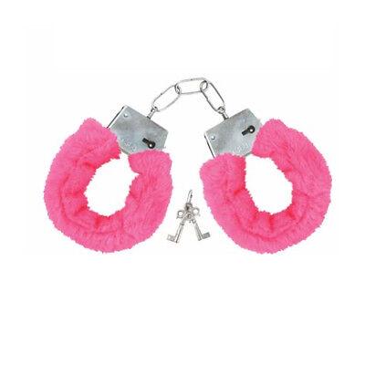 FURRY METAL HANDCUFFS PINK Party Police Fun Cuffs Stag Hen UK SELLER FAST (Pink Furry Kostüm)