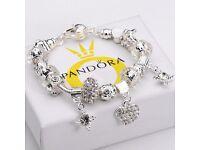 NEW & UNUSED Womens Pandora Fashion Jewellery 925 Solid Silver Bangle Heart Pendant Bracelet
