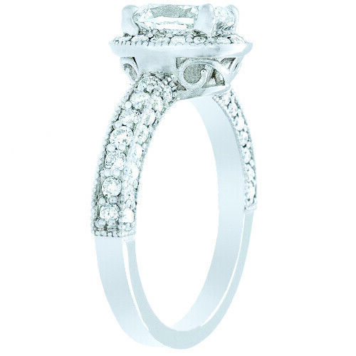 GIA Certified Diamond Engagement Halo Ring 2.41 CTW Oval Shape 18k White Gold 2