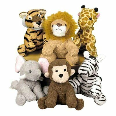 Assortment Suede Jungle Animal Set of 12 Stuffed Animals Toys  - Jungle Animal Toys