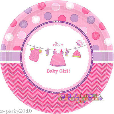 SHOWER WITH LOVE GIRL SMALL PAPER PLATES (8) ~ Baby Party Supplies Dessert - Baby Shower Plates