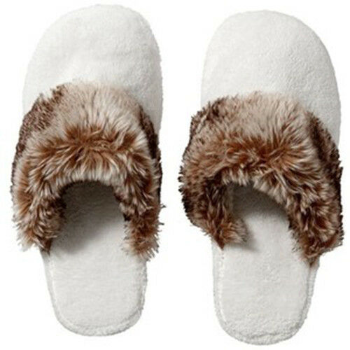 NEW Pottery Barn Cozy Mens Womens Faux Fur Cheetah Ombre Slippers Shoes L 10-11