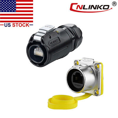 Cnlinko Ethernet Circular Connector Rj45 Plug Socket Outdoor Waterproof Ip67