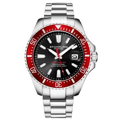 Stuhrling 3950A 4 Aquadiver Date Stainless Steel Red Bezel Black Dial Mens Watch