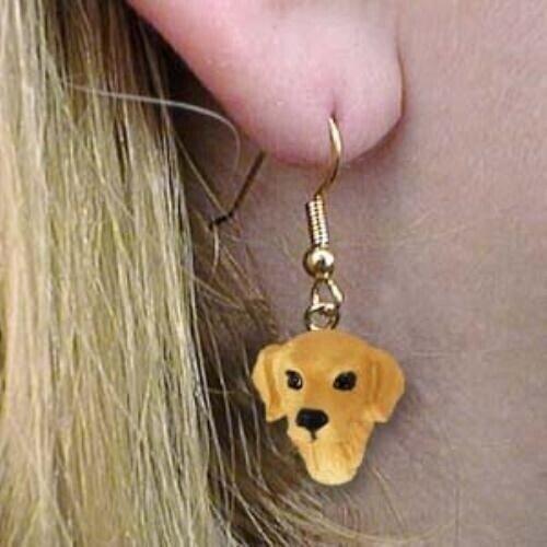 Dangle Style GOLDEN RETRIEVER Dog Head Resin Earrings Jewelry