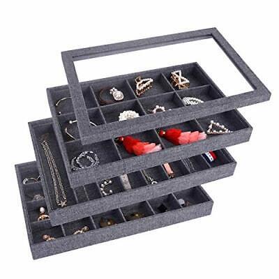 Autoark Grey Sackcloth Stackable Jewelry Tray Showcase Display Organizerglass